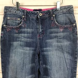 L.A. Blues Stretch Pink Embellished Bootcut Jeans
